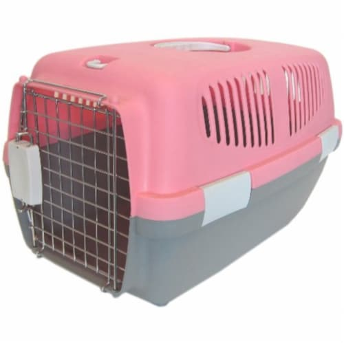 Small Plastic Carrier for Small Animal, Pink Perspective: front