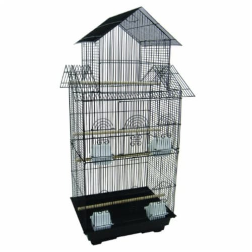 """6844 3/8"""" Bar Spacing Tall Pagoda Top Small Bird Cage  - 18""""x14"""" In Black Perspective: front"""