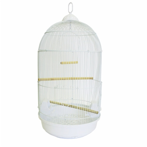 YML A1594 Bar Spacing Round Bird Cage, White, Large Perspective: front