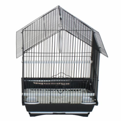 "YML A1114MBLK House Top Style Small Parakeet Cage, 11"" x 9"" x 16"" Perspective: front"