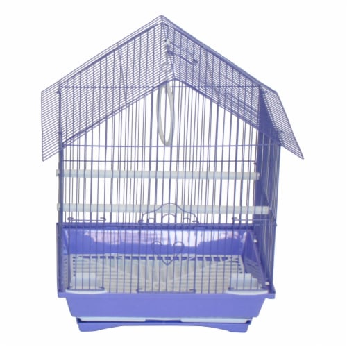 """YML A1114MPUR House Top Style Small Parakeet Cage, 11"""" x 9"""" x 16"""" Perspective: front"""