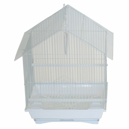"""YML A1314MWHT House Top Style Small Parakeet Cage, 13.3"""" x 10.8"""" x 17.8"""" Perspective: front"""