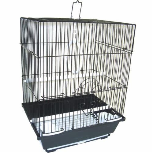 """YML A1124MBLK Flat Top Small Parakeet Cage, 11"""" x 8.5"""" x 14"""" Perspective: front"""