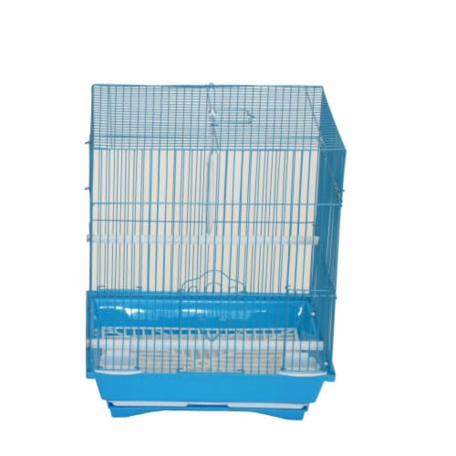 """YML A1124MBLU Flat Top Small Parakeet Cage, 11"""" x 8.5"""" x 14"""" Perspective: front"""