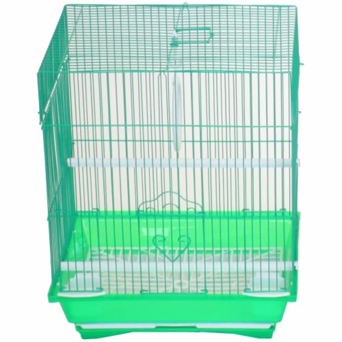 """YML A1124MGRN Flat Top Small Parakeet Cage, 11"""" x 8.5"""" x 14"""" Perspective: front"""