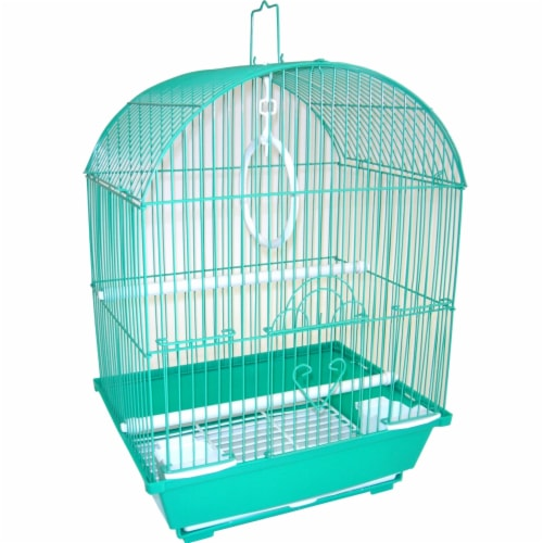 """YML A1304GRN Round Top Style Small Parakeet Cage, 11 x 9 x 16"""" Perspective: front"""