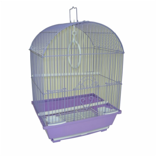 """YML A1304PUR Round Top Style Small Parakeet Cage, 11 x 9 x 16"""" Perspective: front"""