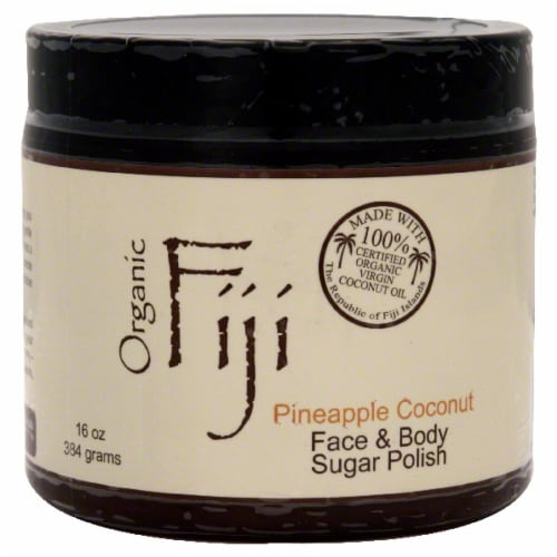 Organic Fiji Pineapple Coconut Face & Body Sugar Polish Perspective: front
