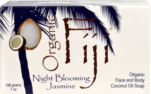 Organic Fiji Face and Body Coconut Oil Bar Soap Night Blooming Jasmine Perspective: front