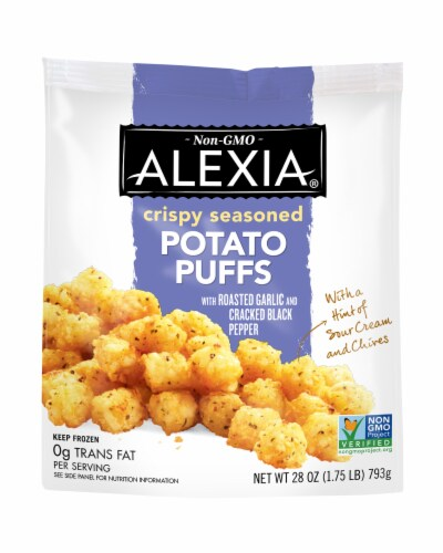 Alexia Crispy Seasoned Potato Puffs with Roasted Garlic and Cracked Black Pepper Perspective: front