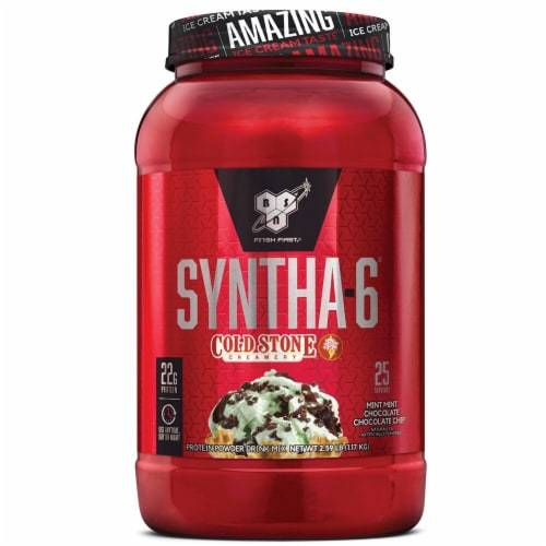 BSN Syntha-6 Cold Stone Creamery Mint Mint Chocolate Chocolate Chip Powder Drink Mix Perspective: front