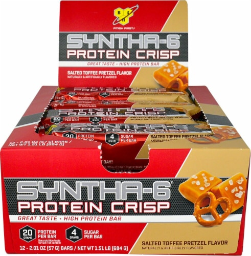 BSN Syntha-6 Protein Crisp Salted Toffee Pretzel Flavor Protein Bars 12 Count Perspective: front