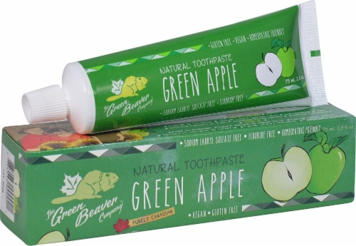 Green Beaver  Natural Toothpaste   Green Apple Perspective: front