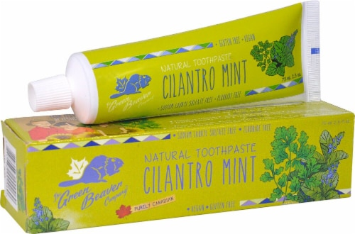 Green Beaver  Natural Toothpaste   Cilantro Mint Perspective: front