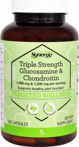 Vitacost Synergy Triple Strength Glucosamine & Chondroitin 1500mg/1200mg Capsules Perspective: front