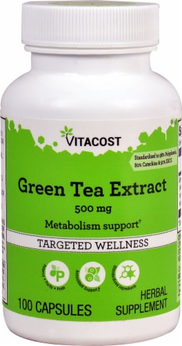 Vitacost Green Tea Extract Capsules 500mg Perspective: front