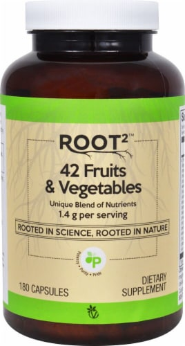 Vitacost ROOT2 42 Fruits & Vegetables Capsules Perspective: front