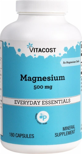 Vitacost Magnesium 500mg Capsules Perspective: front