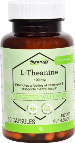 Vitacost Synergy L-Theanine 100mg Capsules Perspective: front