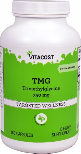 Vitacost TMG - Trimethylglycine (Betaine Anhydrous)  Dietary Supplement 750mg Perspective: front