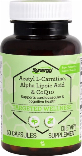 Vitacost Synergy Targeted Wellness Acetyl L-Carnitine Alpha Lipoic Acid & CoQ10 Capsules Perspective: front