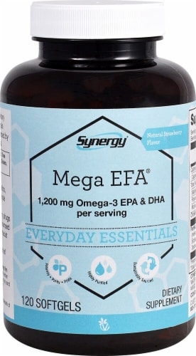 Vitacost  Synergy Mega EFA® 1200 mg Omega-3 EPA & DHA per serving Perspective: front