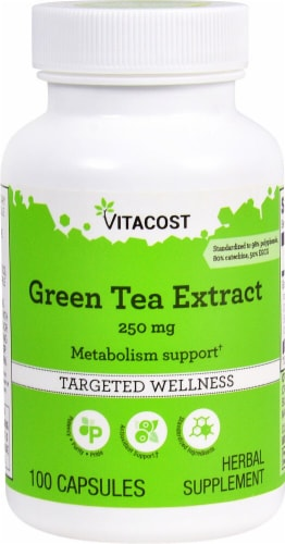 Vitacost Green Tea Extract Targeted Wellness Capsules 250mg Perspective: front