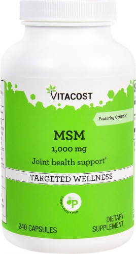 Vitacost MSM 1000mg Capsules Perspective: front