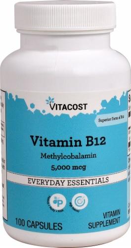 Vitacost Vitamin B-12 Methylcobalamin 5000mcg Capsules Perspective: front