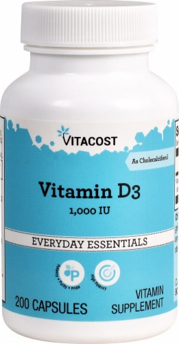 Vitacost Vitamin D3 1000IU Capsules Perspective: front