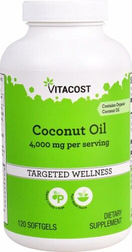 Vitacost Coconut Oil Softgels Perspective: front