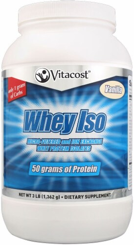 Vitacost  Whey ISO Protein Isolate   Vanilla Perspective: front