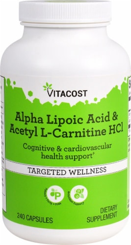 Vitacost  Alpha Lipoic Acid & Acetyl L-Carnitine HCl Targeted Wellness Capsules Perspective: front