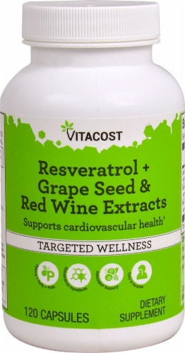 Vitacost Resveratrol + Grape Seed & Red Wine Extract Capsules Perspective: front