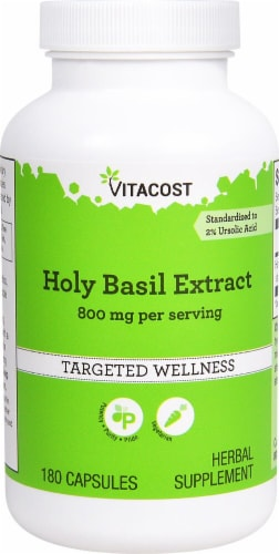 Vitacost Holy Basil Extract Capsules Perspective: front