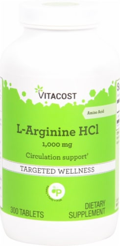 Vitacost L-Arginine HCl Tablets 1000 mg Perspective: front