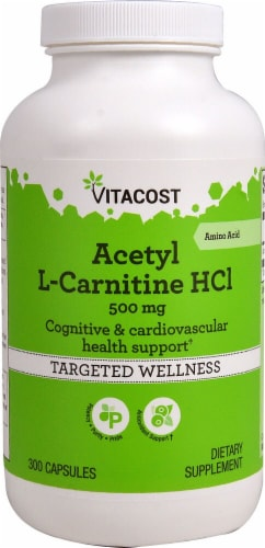 Vitacost Acetyl L-Carnitine HCl Targeted Wellness Capsules 500mg Perspective: front