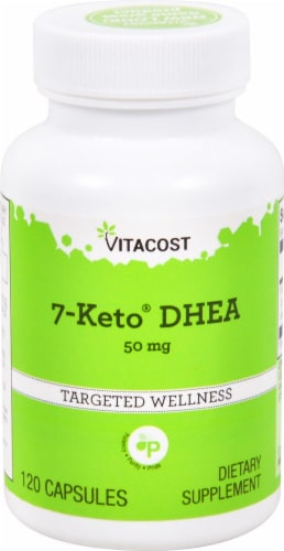 Vitacost 7-Keto DHEA Dietary Supplement Capsules 50mg Perspective: front