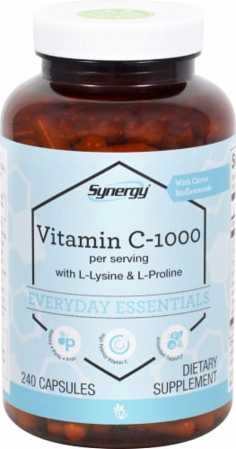 Vitacost Synergy Vitamin C-1000 Everyday Essentials Capsules Perspective: front