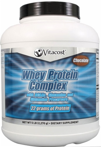 Vitacost Chocolate Whey Protein Complex Powder Perspective: front