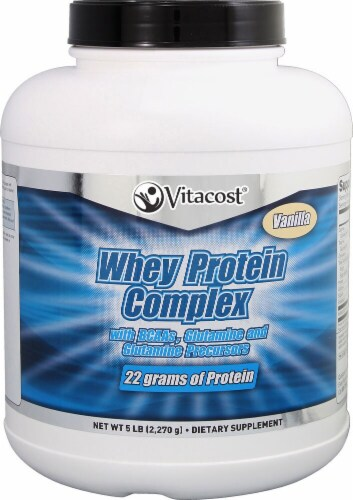 Vitacost Vanilla Whey Protein Complex Powder Perspective: front