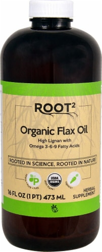 Vitacost Root2 Flax Oil Perspective: front