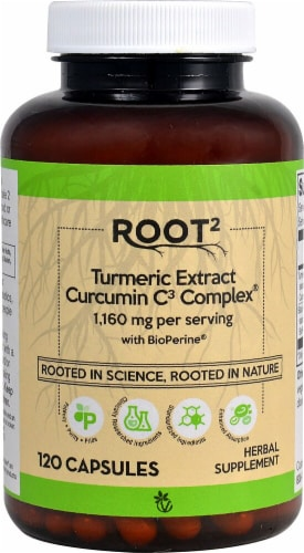 Vitacost Root2 Turmeric Extract Curcumin C3 Complex Capsules 1160mg Perspective: front