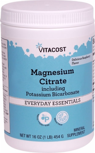 Vitacost Magnesium Citrate including Potassium Bicarbonate Raspberry Mineral Supplement Perspective: front