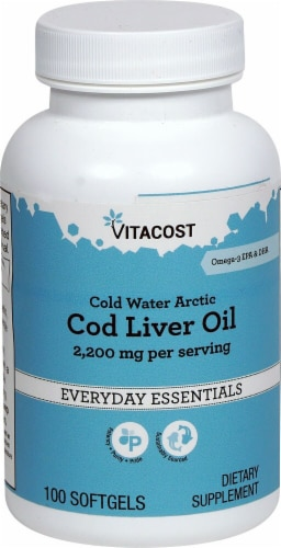 Vitacost Cold Water Arctic Cod Liver Oil Softgels Perspective: front