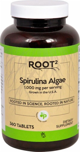 Vitacost ROOT2 Spirulina Natural Algae Dietary Supplement Tablets 1000mg Perspective: front