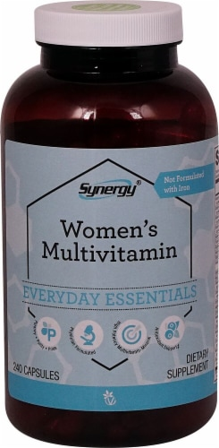 Vitacost Synergy Women's Multivitamin Everyday Essentials Capsules Perspective: front