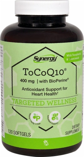 Vitacost Synergy ToCoQ10 with BioPerine® & EVNol SupraBio™ Perspective: front