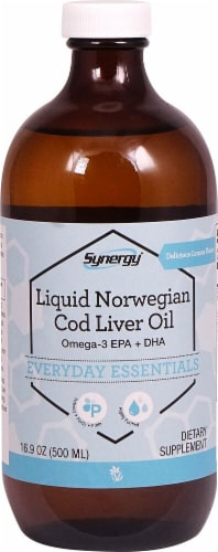 Vitacost Liquid Norwegian Cod Liver Oil Omega-3 EPA + DHA Lemon Dietary Supplement Perspective: front