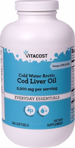 Vitacost Cold Water Arctic Cod Liver Oil Dietary Supplement Perspective: front
